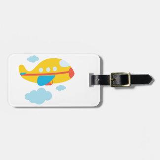 Cartoon Yellow Airplane Bag Tag