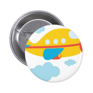 Cartoon Yellow Airplane Pinback Button