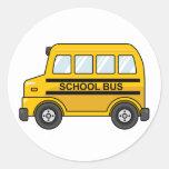 Cartoon Yellow and Black School Bus Classic Round Sticker