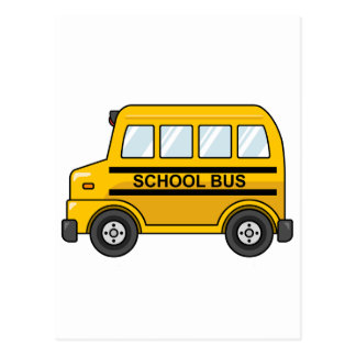 Cartoon Yellow and Black School Bus Postcard