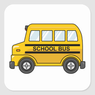 Cartoon Yellow and Black School Bus Square Sticker