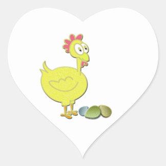 Cartoon Yellow Chicken and Eggs Art Heart Sticker