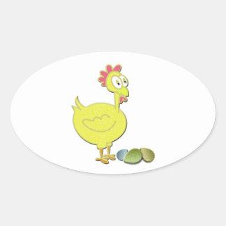 Cartoon Yellow Chicken and Eggs Art Oval Sticker
