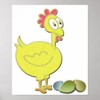 Cartoon Yellow Chicken and Eggs Art Poster