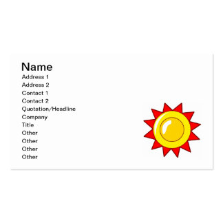 CARTOON YELLOW ORANGE RED SUN SUNSHINE SYMBOL LOGO Double-Sided STANDARD BUSINESS CARDS (Pack OF 100)