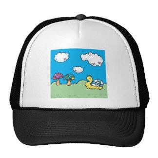 Cartoon yellow snail and mushrooms mesh hat