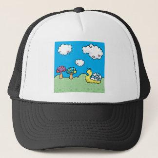Cartoon yellow snail and mushrooms trucker hat