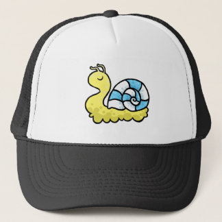 Cartoon yellow snail trucker hat