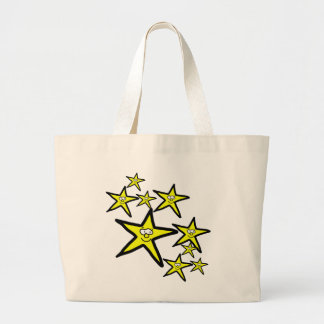 Cartoon yellow stars smiley faces tote bags