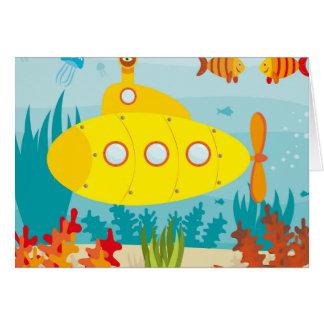 Cartoon Yellow Submarine Card