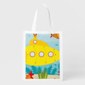 Cartoon Yellow Submarine Grocery Bag