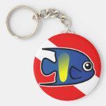 Cartoon Yellowbar Angelfish Dive Flag Key Chain