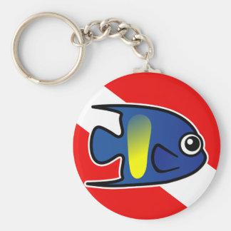 Cartoon Yellowbar Angelfish Dive Flag Basic Round Button Keychain