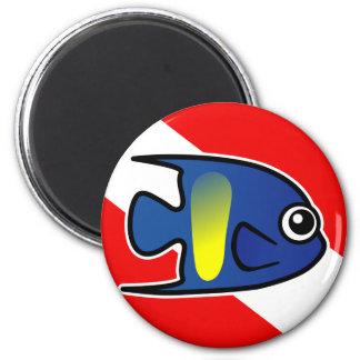 Cartoon Yellowbar Angelfish Dive Flag Magnet