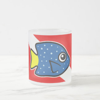 Cartoon Yellowtail Damselfish Dive Flag Frosted Glass Coffee Mug