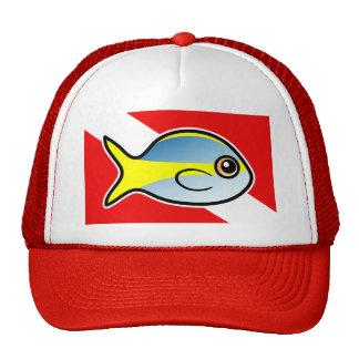 Cartoon Yellowtail Snapper Dive Flag Hats
