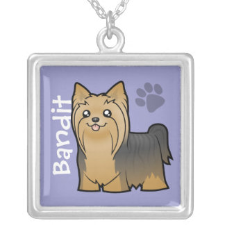 Cartoon Yorkshire Terrier (add your pets name) Square Pendant Necklace