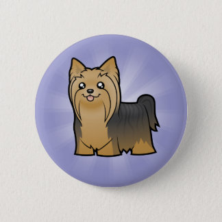 Cartoon Yorkshire Terrier (long hair no bow) Button