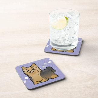 Cartoon Yorkshire Terrier (long hair no bow) Coasters