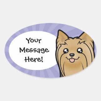 Cartoon Yorkshire Terrier (long hair no bow) Oval Sticker