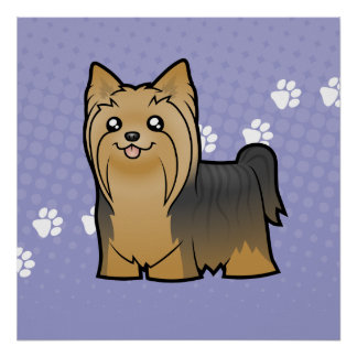 Cartoon Yorkshire Terrier (long hair no bow) Poster