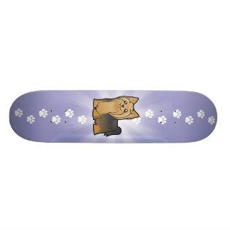 Cartoon Yorkshire Terrier (long hair no bow) Skateboard Deck