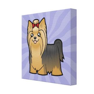 Cartoon Yorkshire Terrier (long hair with bow) Canvas Print