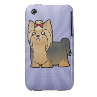 Cartoon Yorkshire Terrier (long hair with bow) Case-Mate iPhone 3 Cases