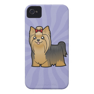 Cartoon Yorkshire Terrier (long hair with bow) Case-Mate iPhone 4 Case