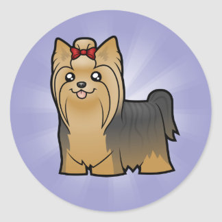 Cartoon Yorkshire Terrier (long hair with bow) Classic Round Sticker