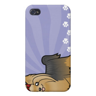 Cartoon Yorkshire Terrier (long hair with bow) Cover For iPhone 4