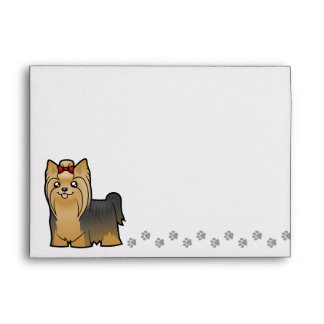 Cartoon Yorkshire Terrier (long hair with bow) Envelope