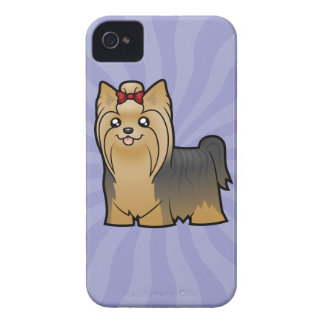 Cartoon Yorkshire Terrier (long hair with bow) iPhone 4 Case