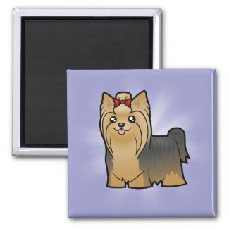 Cartoon Yorkshire Terrier (long hair with bow) Magnet