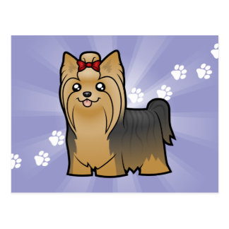 Cartoon Yorkshire Terrier (long hair with bow) Postcard