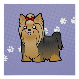 Cartoon Yorkshire Terrier (long hair with bow) Poster