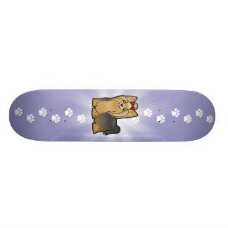 Cartoon Yorkshire Terrier (long hair with bow) Skate Board