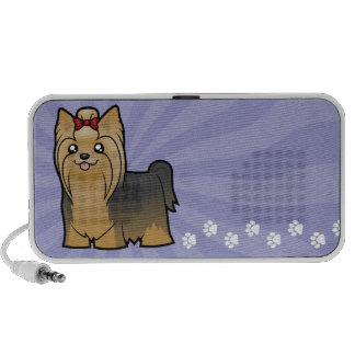 Cartoon Yorkshire Terrier (long hair with bow) Speakers