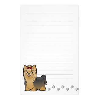 Cartoon Yorkshire Terrier (long hair with bow) Stationery
