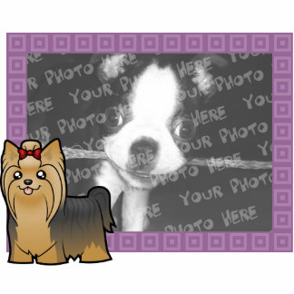 Cartoon Yorkshire Terrier (long hair with bow) Statuette