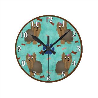 Cartoon Yorkshire Terrier Round Clock