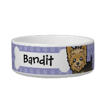 Cartoon Yorkshire Terrier (short hair no bow) Bowl