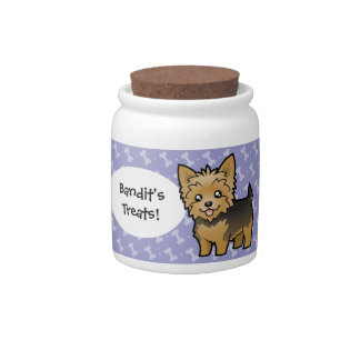Cartoon Yorkshire Terrier (short hair no bow) Candy Dishes