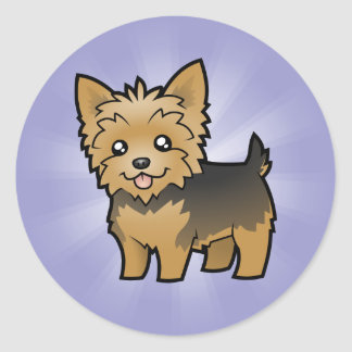 Cartoon Yorkshire Terrier (short hair no bow) Classic Round Sticker