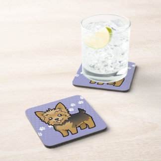 Cartoon Yorkshire Terrier (short hair no bow) Beverage Coaster