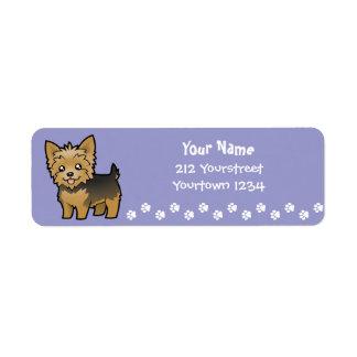 Cartoon Yorkshire Terrier (short hair no bow) Label