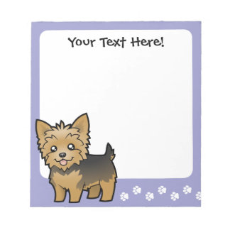 Cartoon Yorkshire Terrier (short hair no bow) Note Pad