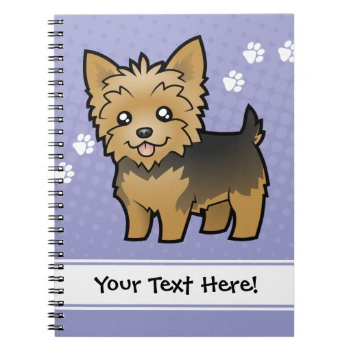 Cartoon Yorkshire Terrier (short hair no bow) Spiral Notebooks