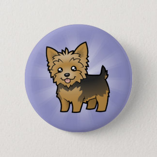 Cartoon Yorkshire Terrier (short hair no bow) Pinback Button