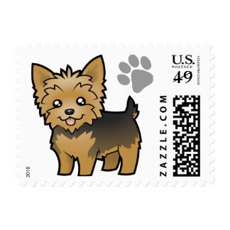 Cartoon Yorkshire Terrier (short hair no bow) Postage Stamp